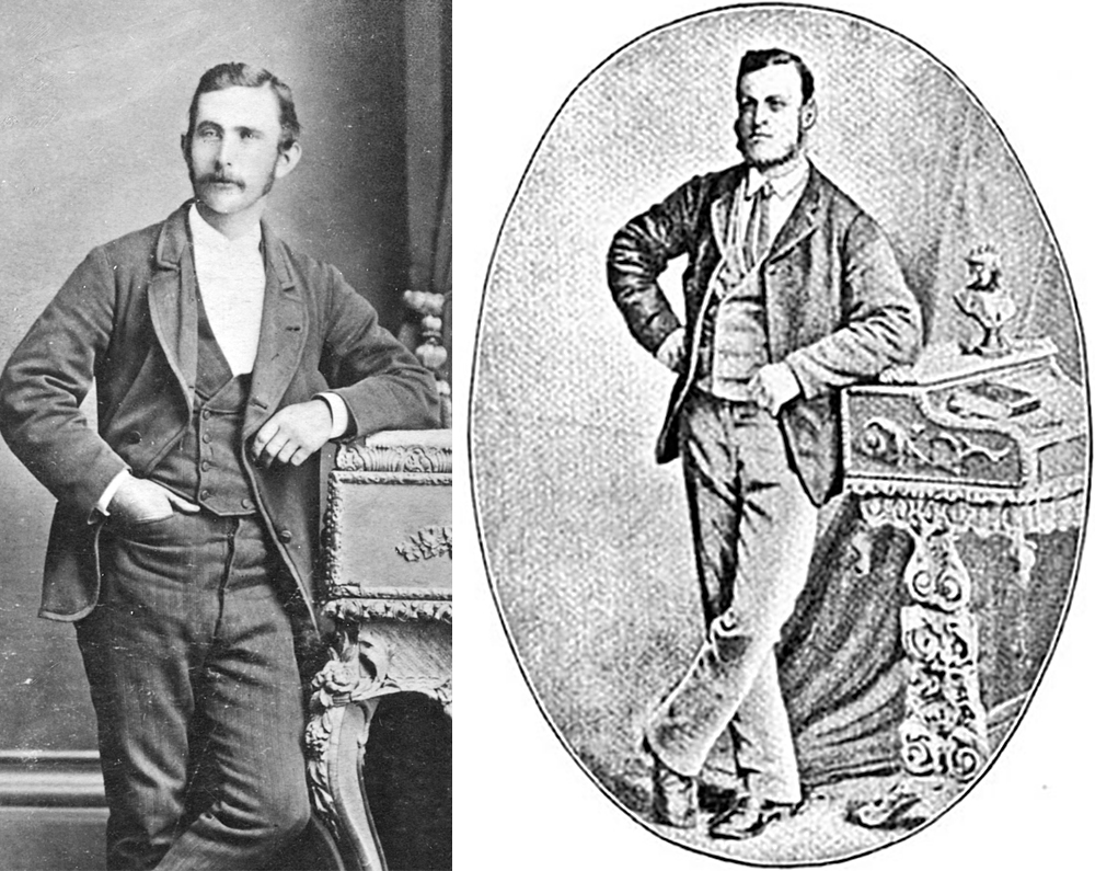 Joe Byrne, with moustache compared to reversed Joe from 'The Last of the Bushrangers'.