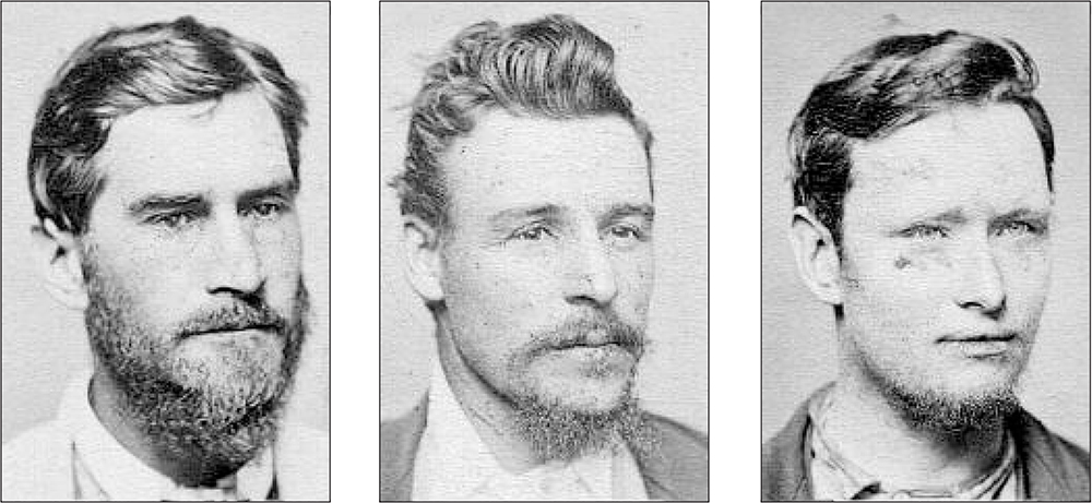 Three of the twenty-three Kelly sympathisers rounded up in 1879, to be held, without trial, in Beechworth Gaol for up to three months. It was a ridiculous tactic which alienated many law-abiding north-easterners. From left, John Quinn, John Stewart, and Joseph Ryan. Image: Victoria Police Historical Unit
